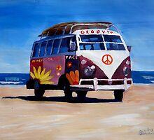 Surf Bus Series - The Groovy Peace VW Bus by artshop77