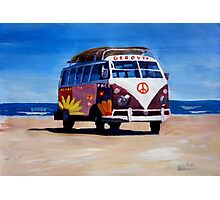 Surf Bus Series - The Groovy Peace VW Bus Photographic Print