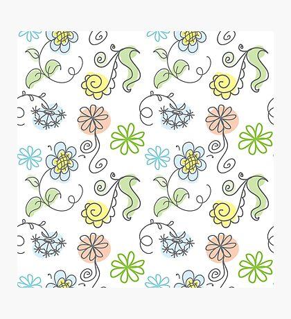 floral hand drawn doodle design. Photographic Print