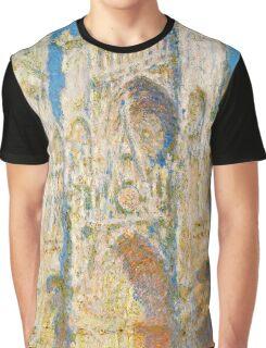 1894-Claude Monet-Rouen Cathedral, West Façade, Sunlight-65 x 100 Graphic T-Shirt