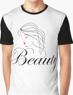 Beautiful Woman with wavy hair and text beauty  Graphic T-Shirt