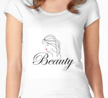 Beautiful Woman with wavy hair and text beauty  Women's Fitted Scoop T-Shirt