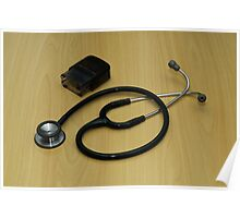 stethoscope and stamp Poster