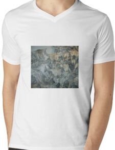 Bison Skull Collection, Head-Smashed-in Buffalo Jump, Alberta, Canada Mens V-Neck T-Shirt