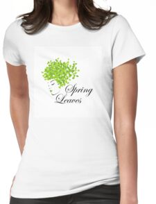 Mother nature with spring leaves as hair  Womens Fitted T-Shirt