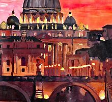 Eternal City - Rome, St Peter at Dusk by artshop77