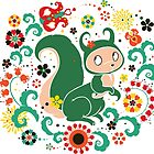 Russian FOLK  Green Squirrel. by Kimazo