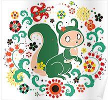 Russian FOLK  Green Squirrel. Poster