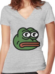 Sad Pepe 2.0 Women's Fitted V-Neck T-Shirt