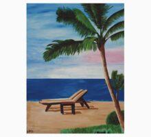 Caribbean Strand with Beach Chairs Kids Tee