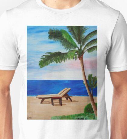 Caribbean Strand with Beach Chairs Unisex T-Shirt