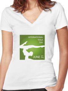International yoga day june 21  Women's Fitted V-Neck T-Shirt