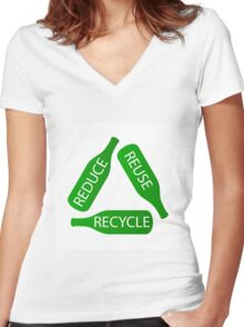 Reduce Reuse Recyele Women's Fitted V-Neck T-Shirt