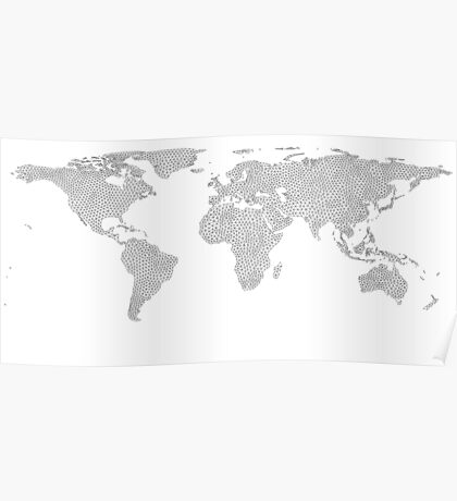 world map poly geometry Poster