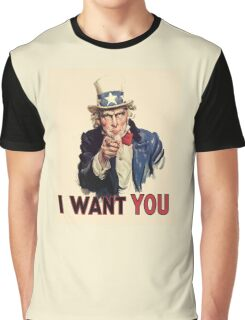 Americana, America, I Want You! Uncle Sam Wants You. Recruitment Poster, USA, Graphic T-Shirt