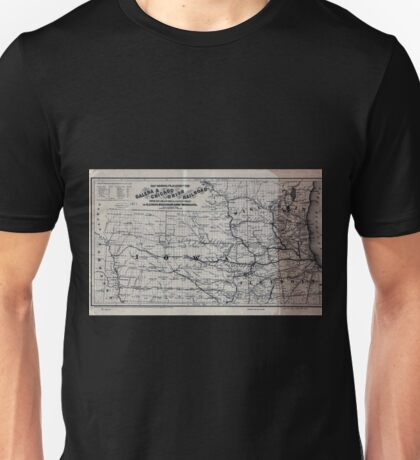 0266 Railroad Maps Map showing the location of the Galena Chicago Union Railroad with its branches connections in Illinois Wisconsin Iowa and Unisex T-Shirt