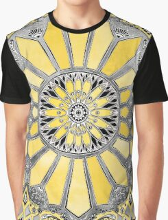 Sunny Yellow Radiant Watercolor Pattern Graphic T-Shirt