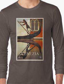 Vintage Venice Italy travel advert, gondola Long Sleeve T-Shirt
