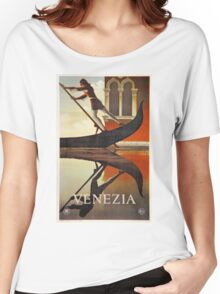 Vintage Venice Italy travel advert, gondola Women's Relaxed Fit T-Shirt