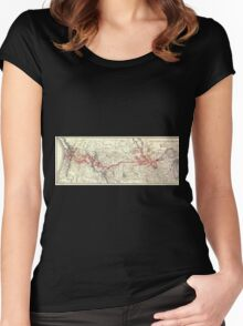 0335 Railroad Maps Northern Pacific Railway Women's Fitted Scoop T-Shirt