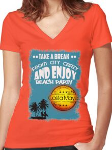 Costa Maya Mexico Women's Fitted V-Neck T-Shirt