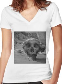 Valley of the Skulls I BW Women's Fitted V-Neck T-Shirt