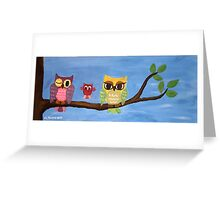 owl family on a tree  Greeting Card