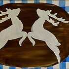 Oktoberfest  - deer with gentian on blue white checks by artshop77