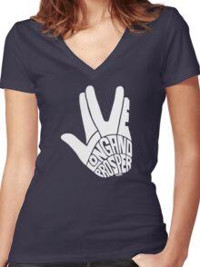 Live Long and Prosper White Women's Fitted V-Neck T-Shirt