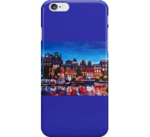 Amsterdam Skyline With Canal At Night iPhone Case/Skin