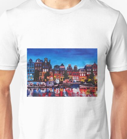 Amsterdam Skyline With Canal At Night Unisex T-Shirt
