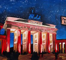 Berlin Brandenburg Gate With Paris Place At Night by artshop77