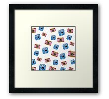 Photography inspired pattern. Polaroid and DSLR Camera. Watercolor art. Framed Print