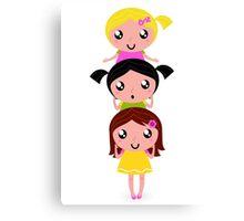 Happy childrens group : pink, yellow : friendship school girls Canvas Print