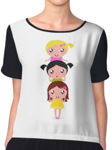 Happy childrens group : pink, yellow : friendship school girls Chiffon Top