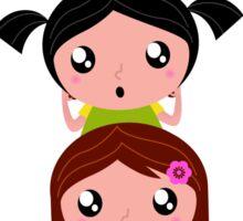 Happy childrens group : pink, yellow : friendship school girls Sticker