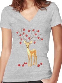 Autumn Fawn Women's Fitted V-Neck T-Shirt