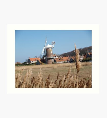 Cley Windmill from the reeds Art Print