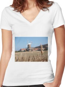 Cley Windmill from the reeds Women's Fitted V-Neck T-Shirt