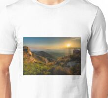 View from the rocks at sunset Unisex T-Shirt