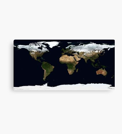 World Map [HD] - Satellite Topography Canvas Print