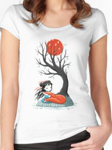Girl and a Fox 2 Women's Fitted Scoop T-Shirt