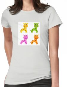 Funky creature set isolated on white : colorful Giraffes Womens Fitted T-Shirt