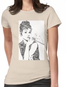 Audrey Hepburn Watercolor Pop Art  Womens Fitted T-Shirt