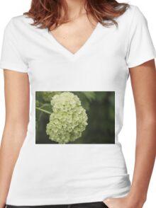 white hydrangea Women's Fitted V-Neck T-Shirt
