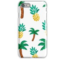 Tropical inspired pattern. Pineapple and Palmtree. Watercolor Art. iPhone Case/Skin