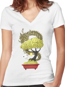 Bonsai Bunny Women's Fitted V-Neck T-Shirt
