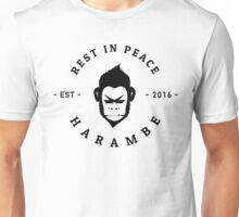 Rest In Peace Harambe - Large - (Black Silhouette) Unisex T-Shirt
