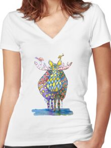 Moose With Friends Watercolor Print Women's Fitted V-Neck T-Shirt