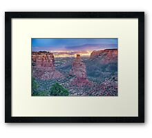 Colorado National Monument And City Lights Framed Print